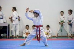 Karatehändelsen, den celebratory mästerskapet av anslutningen av karate gör Porto Royaltyfria Bilder