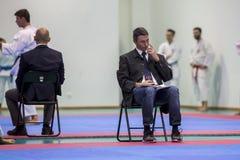 Karatehändelsen, den celebratory mästerskapet av anslutningen av karate gör Porto Royaltyfri Foto