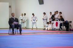 Karatehändelsen, den celebratory mästerskapet av anslutningen av karate gör Porto Royaltyfri Bild