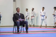 Karatehändelsen, den celebratory mästerskapet av anslutningen av karate gör Porto Royaltyfri Fotografi