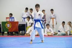 Karatehändelsen, den celebratory mästerskapet av anslutningen av karate gör Porto Royaltyfria Foton