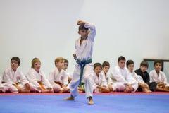 Karatehändelsen, den celebratory mästerskapet av anslutningen av karate gör Porto Arkivfoto