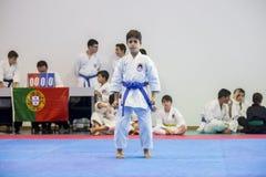 Karatehändelsen, den celebratory mästerskapet av anslutningen av karate gör Porto Arkivfoton