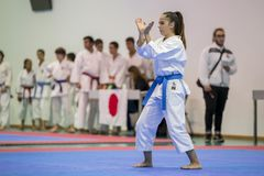 Karatehändelsen, den celebratory mästerskapet av anslutningen av karate gör Porto Fotografering för Bildbyråer