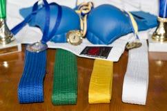 Karatehandschoenen, riemen en kimono Royalty-vrije Stock Foto