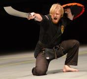 Karateinstructeur het presteren Royalty-vrije Stock Foto