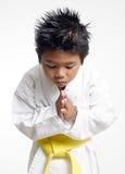 Karatejungenverbeugung stockfotografie