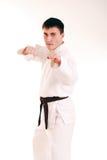 Karateka auf einem weißen Hintergrund. lizenzfreie stockfotografie