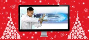 Karateka die de snelheid van de digitale vezel tonen Stock Foto's