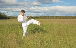 Karateka a kick Stock Photo
