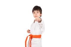 Karateka med ett orange bälte Royaltyfria Bilder