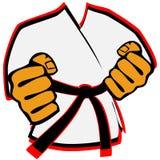Karateka nell'emblema di arti marziali del kimono Immagine Stock Libera da Diritti