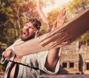 Karateka przerw deska Zdjęcie Stock