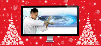 Karateka showing the speed of the digital fiber. For christmas stock photos