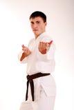 Karateka su una priorità bassa bianca. Fotografie Stock Libere da Diritti
