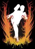 Karateka sur l'incendie Photos stock
