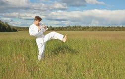 karatekakick arkivfoto
