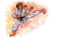 Karatekvinnasparken makten av Karate-gör, 2017 Arkivfoton