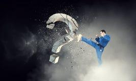 Karatemann in der Aktion Gemischte Medien Stockfotografie