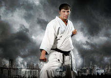 Karatemeister im Kimono auf stürmischem Himmel stockbild