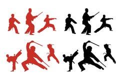 karatesilhouettes Arkivfoto