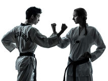 Karatetaekwondo kampsportar bemannar kvinnasilhouetten arkivfoton