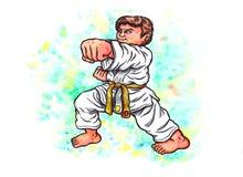 Karateungar - pojken som stansar makten av Karate-gör, 2017 Arkivbild