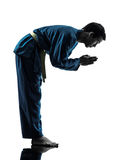 Karatevietvodaokampsportar bemannar silhouetten Royaltyfri Foto