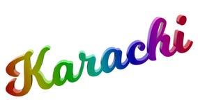 Karatschi-Stadt-Name kalligraphisches 3D machte Text-Illustration gefärbt mit RGB-Regenbogen-Steigung Lizenzfreies Stockfoto