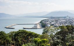 Karatsu city view in the morning. Morning view of Karatsu city and Karatsu bay from Karatsu castle hill - Saga prefecture, Japan stock photography