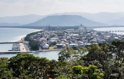 Karatsu city view in the morning. Morning view of Karatsu city and Karatsu bay from Karatsu castle hill - Saga prefecture, Japan royalty free stock images