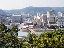 Karatsu city view in the morning. Morning view of Karatsu city from Karatsu castle - Saga prefecture, Japan stock images