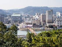 Karatsu-Stadtansicht morgens stockbilder