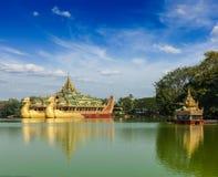 Karaweik barge at Kandawgyi Lake, Yangon, Myanmar Royalty Free Stock Photo
