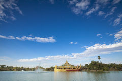 Karaweik palace in Yangon Royalty Free Stock Photography