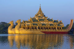 Kandawgyi Lake - Karaweik - Yangon - Myanmar. The Karaweik is a replica of a Burmese Royal Barge on Kandawgyi Lake in Yangon in Myanmar. Although a national royalty free stock image