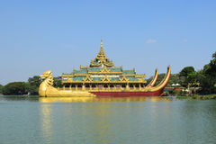 Karaweik temple in Kandawgyi lake, Yangon, Myanmar Royalty Free Stock Image
