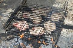 Karbonades in barbecue stock foto's