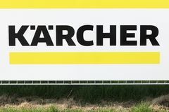 Karcher sign on a panel. Tilst, Denmark - April 20, 2018: Karcher sign on a panel. Karcher is a German family-owned company that operates worldwide and is known Royalty Free Stock Photography