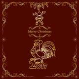 karciana bożych narodzeń projekta płatków śniegów miś pluszowy zabawka 2017 Chińskich nowy rok kogut royalty ilustracja