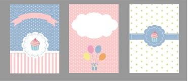 Karciana kolekcja dla urodziny, zaproszenia i przyjęcia, Zdjęcia Royalty Free
