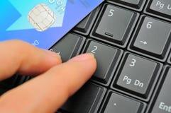 karciana kredyta palca klawiatura Obraz Stock