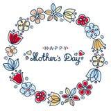 karcianego dzień szczęśliwa matka s Round kwiecisty wianek ilustracji