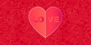 karcianego dzień szczęśliwi serca target283_0_ s dwa valentine Czerwony serce na kwiecistym tle z kwitnącymi różami ilustracja wektor