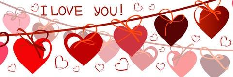 karcianego dzień szczęśliwi valentines wektor ulotki tło z sercami fotografia stock