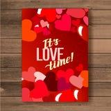 karcianego dzień szczęśliwi valentines wektor ulotki tło z sercami Zdjęcia Stock