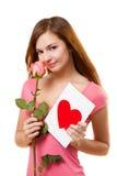 karcianego kwiatu różana kobieta Fotografia Royalty Free