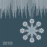 karcianego powitania nowy ornamentacyjny płatka śniegu rok Obraz Royalty Free