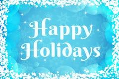 karcianego powitania szczęśliwi wakacje Wektorowy zima Tło Bławy i biel barwi tapetę z przejrzystymi płatkami śniegu, bąble royalty ilustracja