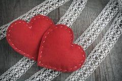 karcianej dzień projekta dreamstime zieleni kierowa ilustracja s stylizował valentine wektor Czerwony odczuwany serce na koronkow Zdjęcie Royalty Free